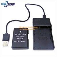 (2-In-1) EN-EL14 Battery & USB Charger for Nikon Coolpix P7800 P7700 P7100 P7000 D5500 D3200 D3300 D5100 D3100 & Df DSLR Cameras