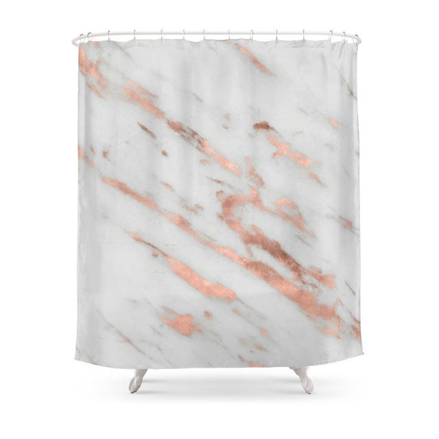 Marble Rose Gold With White Foil Pattern Shower Curtain