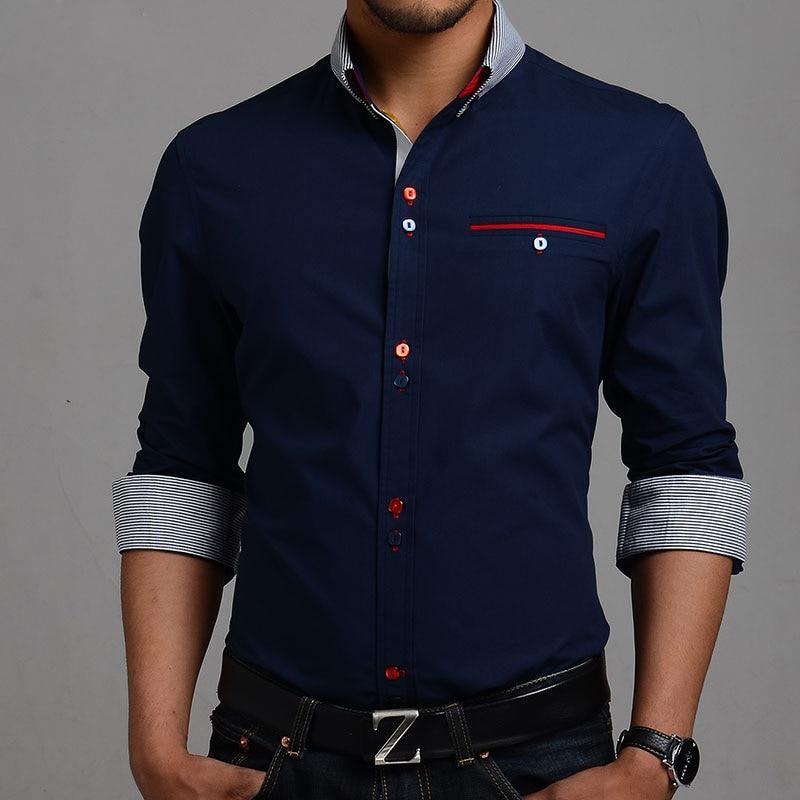 2015 Spring Men s Casual Button Down Shirt Long Sleeve Cotton Dress Shirts  Cool Slim Fit Big Sizes XXXL 1bd15bdf4880