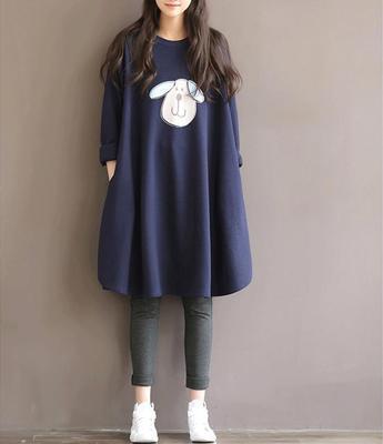 maternity dress o-neck long sleeve casual cartoon printed cute dark blue fleece thick loose dresses pregnant woman clothes