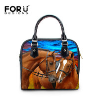 FORUDESIGNS Crazy Horse Casual Ladies Crossbody Bags 3D Animal Printing Women Fashion Tote Shoulder Bags PU