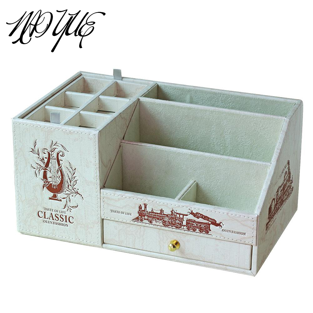 NAI YUE Desk Makeup Pen storage box Holder PU Leather Office Storage Box Stationery Cosmetic Case Container #15