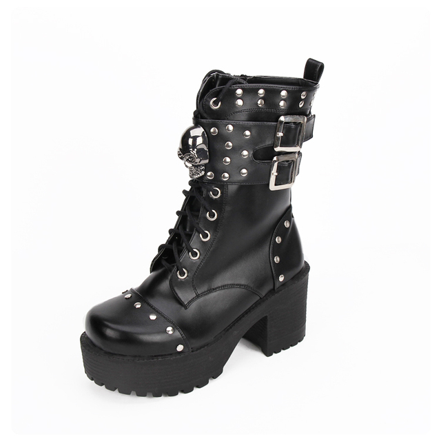 e34aa0a1547f Steampunk Women Leather High Heels Rivets Boots Lolita Girls Shoes Punk  Skull Boots Winter Black Thick Bottom Boots With Buckles
