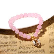 Vinswet Natural Pink Rose Crystal Quartz Bracelet Silver gold Charm Beads Bracelets Pink Quartz Bracelets for Women girls gift 14k gold charm bracelets for women pink crystal and lapis lazuli beads bracelet bohemia vintage original fine jewelry