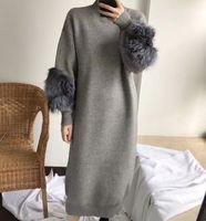 2018 New Arrival Women Grey Fox Fur Sleeve Knitted Sweater Dress Round Neck Long Knit Sweater Dresses Vestidos