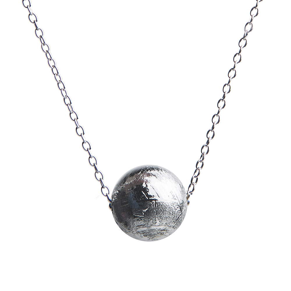 Genuine Natural Gibeon Iron Meteorite Pendants 8mm Ball Sphere Moldavite Silver Beads New Gift Women Men Necklace AAAAA(China)