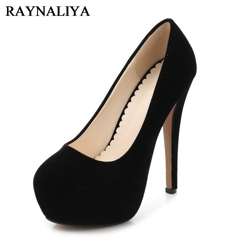 Sexy Women Casual Office Work Footwear Flock Leather Party High Heel Pumps Ladies Platform Heels Shoes Woman Size 35-46 WZ-B0007