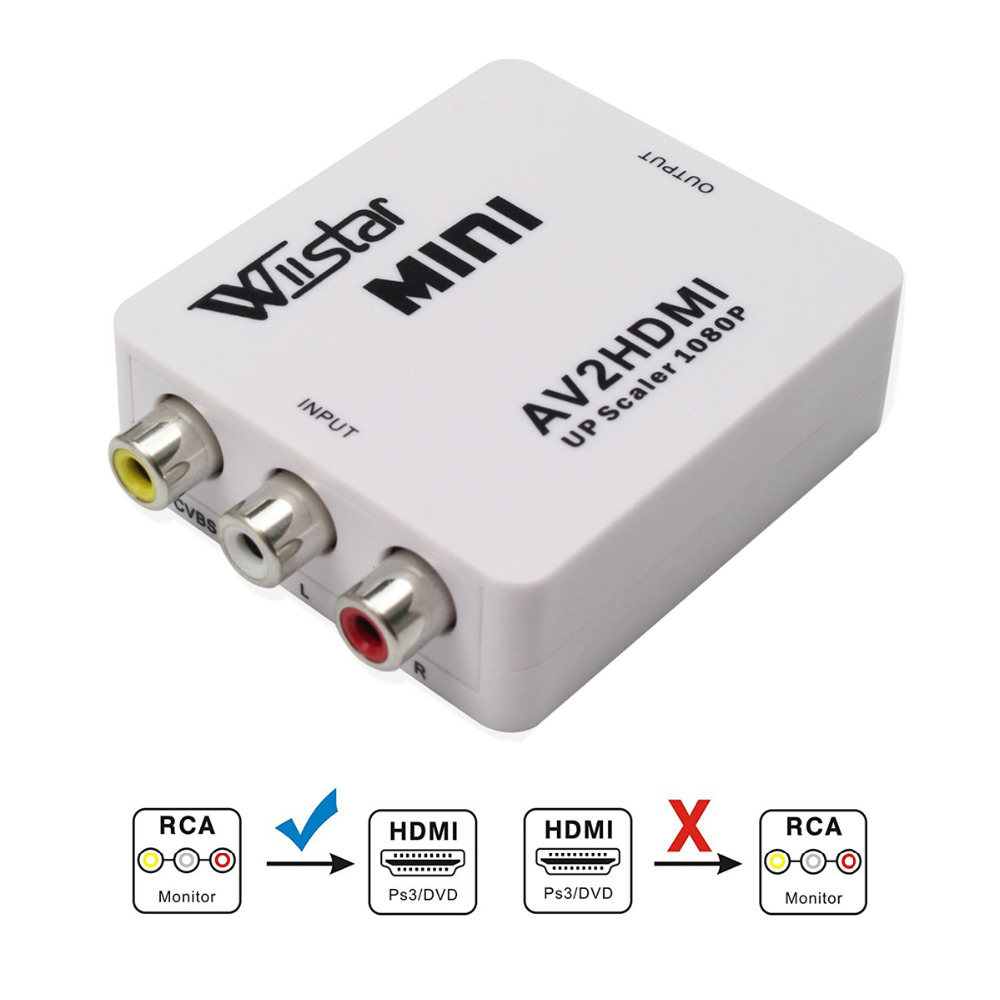 Wiistar Mini 1080P AV RCA to HDMI Video Converter Box AV2HDMI RCA AV HDMI CVBS to HDMI Adapter for HDTV TV PS3 PC DVD Xbox 2 in 1 1080p mini hdmi hdmi to vga 3 5mm av adapter w cables white