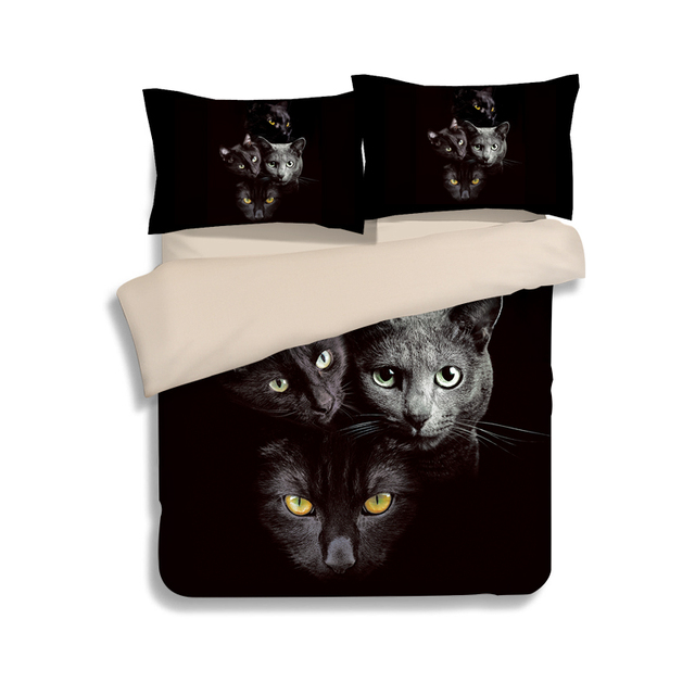 3d Animal Black Cat Print Bedding Set Twin Queen King Size Polyester