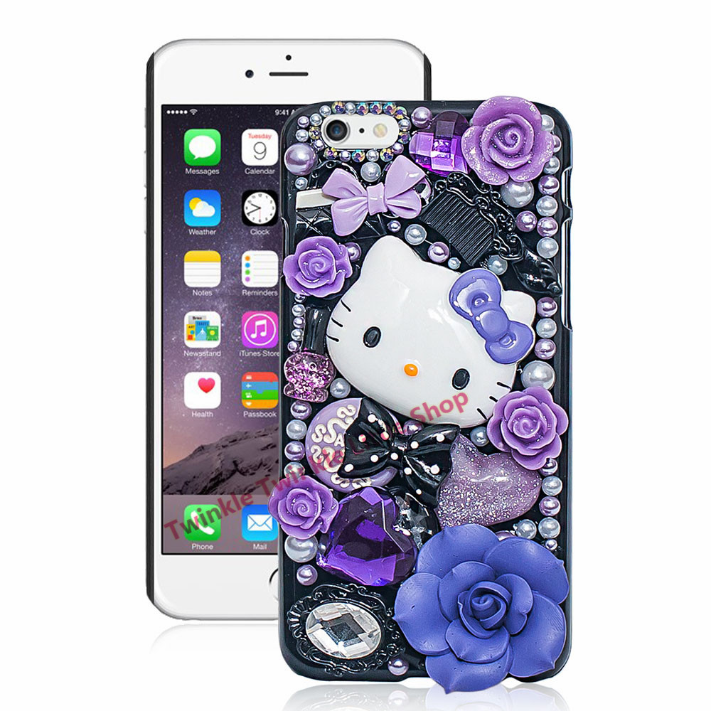 492e92c3560a Cute Hello Kitty Crystal Pearl 3D Case For iPhone Hard Back Cover Phone  Cases For apple iphone For iphone X-in Rhinestone Cases from Cellphones ...