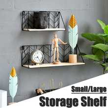 Nordic Style Shelves Wall Decoration Storage Shelf Wall-mounted Hanging Iron Flower Holder Storage Rack For Sundries Books Snack(China)