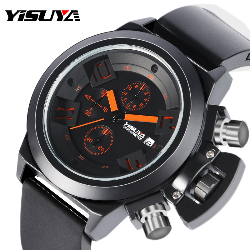 YISUYA Sport Watches Men Auto Date Day 6 Hands Chronograph Military Quartz Watch Silicone Band  Clock Relogio Masculino 2017 skone chronograph 6 hands 24 hours function men sport watch silicone luxury watch men top brand military watch auto date relogio