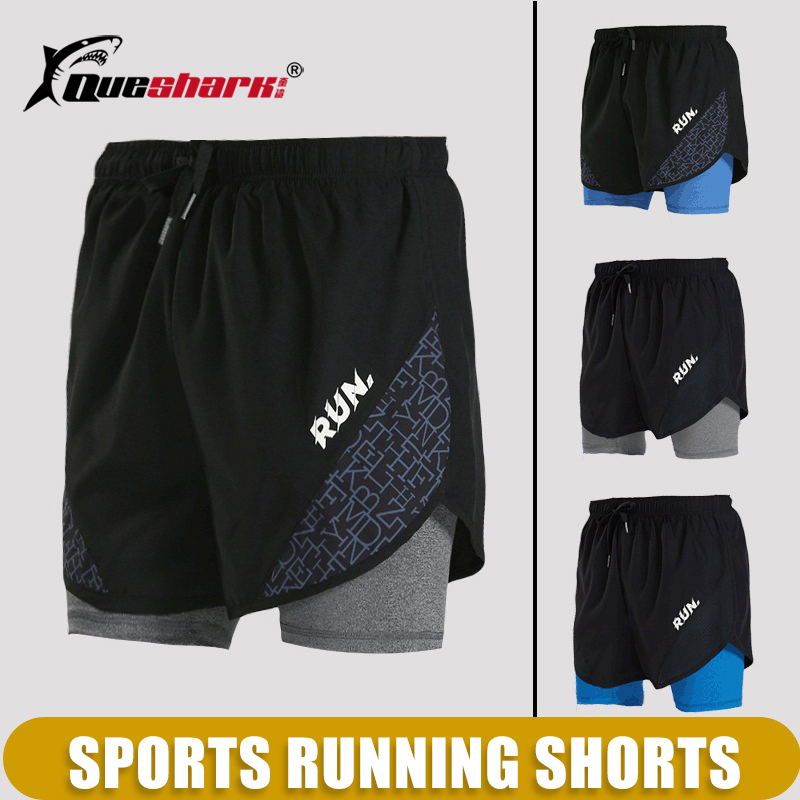 Men Quick Dry Running Shorts 2 In 1 Sports Basketball Short Pants Fitness Gym Tennis Training Clothes Jogging Walking Shorts