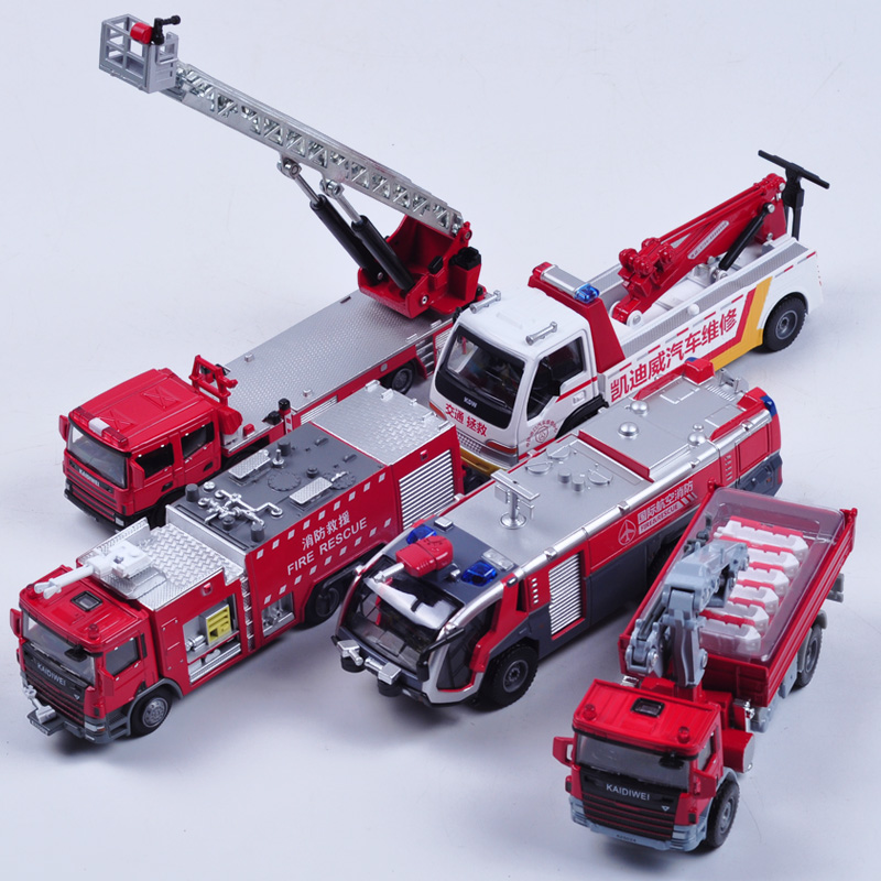 Fun children toy automobile alloy simulation toy fire truck excavator assembly model children education toy car