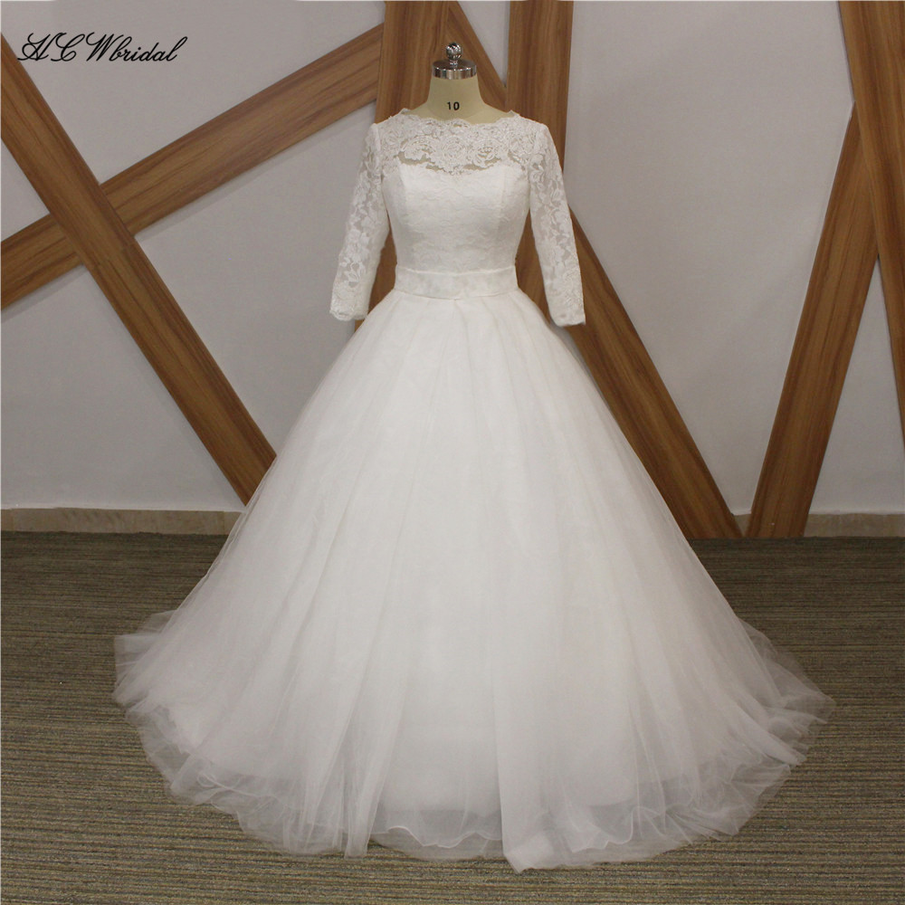 Cheap 3 4 Sleeve Wedding Dresses: Graceful White Princess Wedding Dress 3/4 Sleeves Tulle