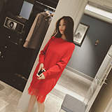 New Vintage Women Sweater Dress Casual Long Sleeves O-neck Knee-length Knitted Lace Dress Female Stitching Jumper Vestidos