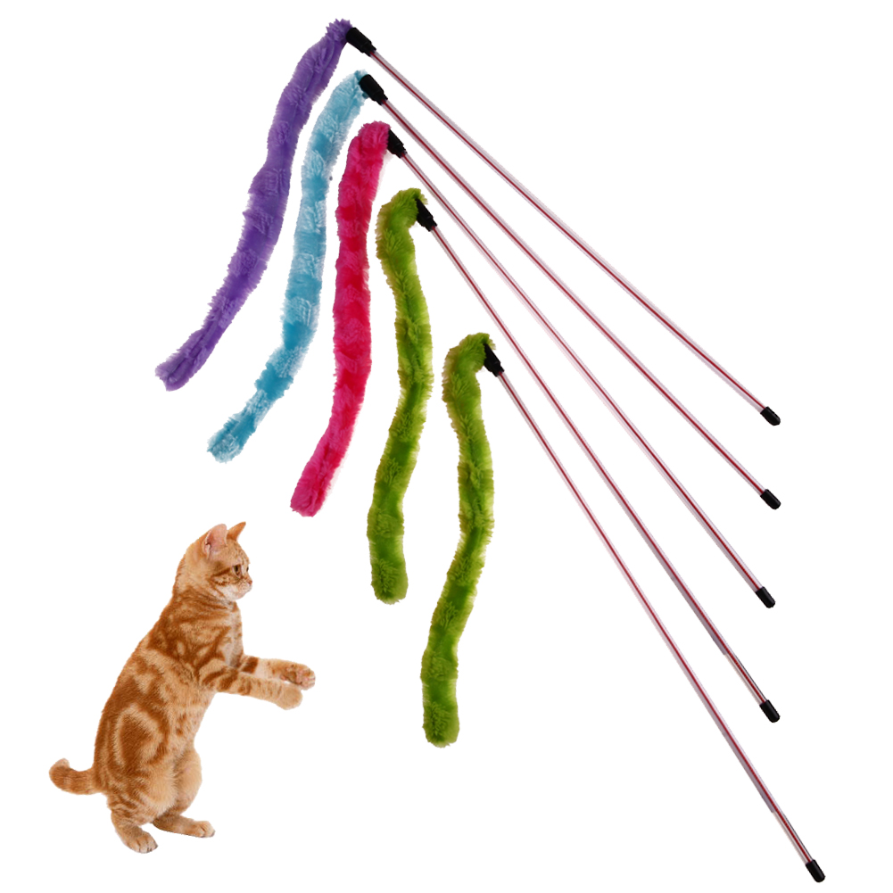 5pcs/set Funny Cat Feather Wand Stick Wire Plush Toy Pet Dog Cat Teaser Wand With Bell Colourful Cat Toys