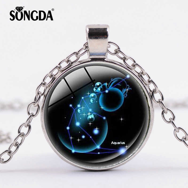 SONGDA 12 Star Zodiac Glass Cabochon Necklace Constellation Sign Necklace Horoscope Astrology Galaxy Zodiac Statement Jewelry