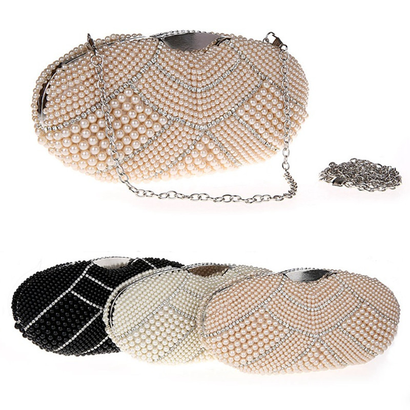 2016 Brand New Women's Luxury Pearl Beading / Rhinestons Chain Bag Day Clutches Purse Evening Bag for Wedding Bag / Clutch B1152