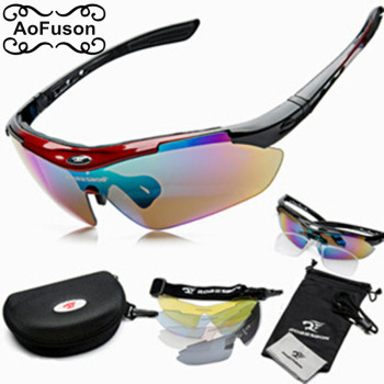 5 Lens Cycling Glasses Night vision Eyewear Change Lens Glasses Fishing Hiking Mountain Bike Bicycle Riding Sports Goggle Set
