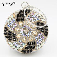 Round Metal Rhinestone Wedding Clutch Purse Gold Silver Clutch With Bead Crystal Circular Ring Flower Shoulder Bag Metallic Bags