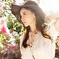 2017 Мода Лето Женская Складная Широкий Большой Брим Floppy Пляж Hat Вс Соломенная Шляпка Cap Для Женщин