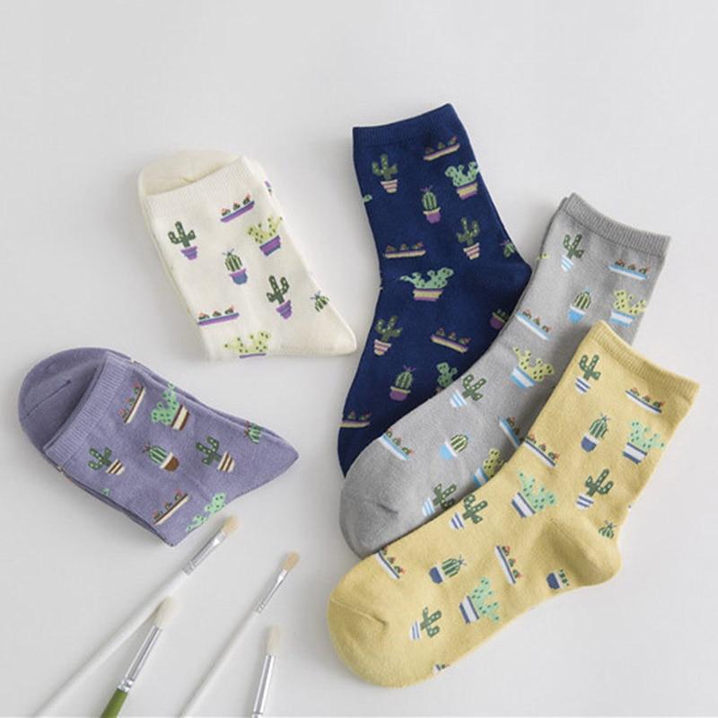 1 Paar Mädchen Pflanze Kaktus Muster Socken Komfortable Baumwolle Casual Warme Weiche Socken
