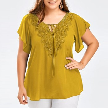 Plus Size Summer Fashion Patchwork Lace up Blouse Ladies Tops Loose Top Female Women Half Sleeve Shirt