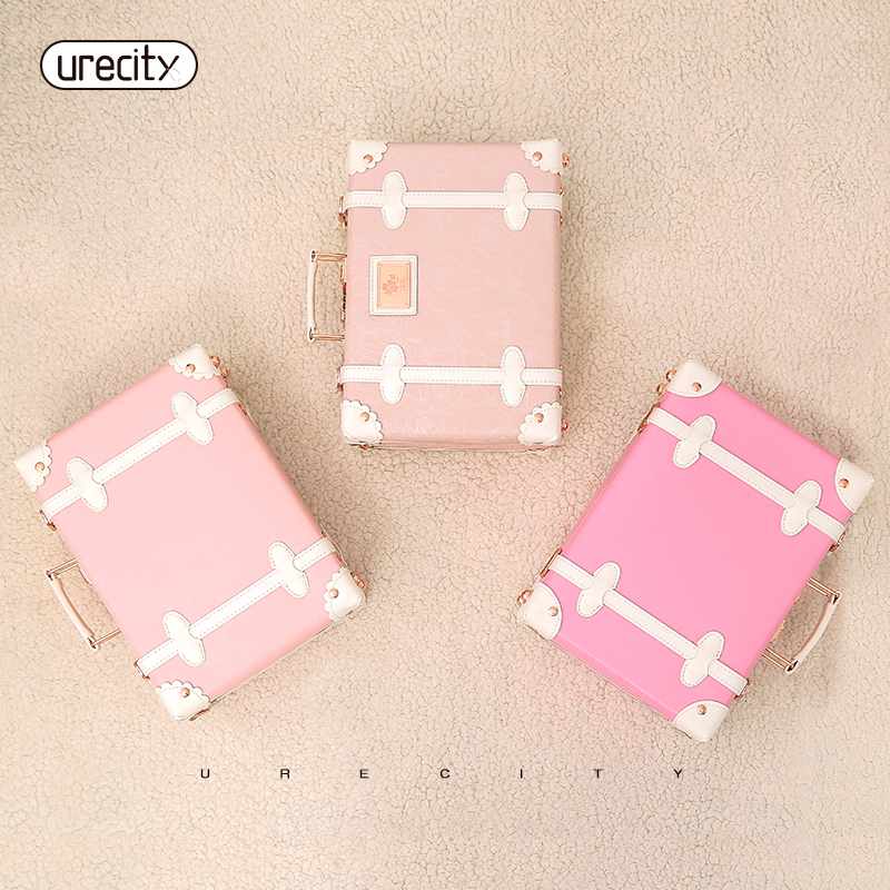 2018 NEW childrens suitcase kids luggage small suitcase pink hand bags striped pu pp mat ...