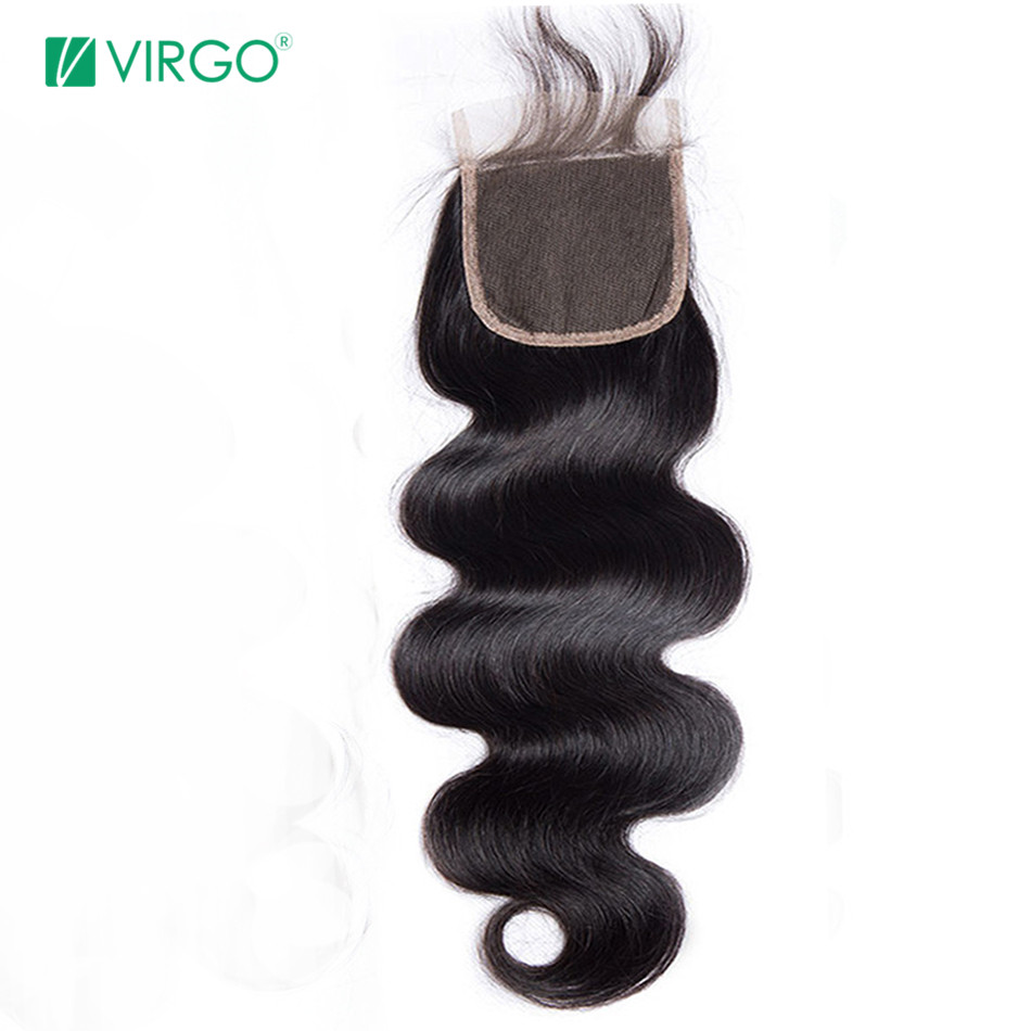 Volys Virgo Hair Human Hair 4x4 Remy Hair Body Wave Swiss Lace Closure With Baby Hair Free/Middle/Three Part Nature Black 1B