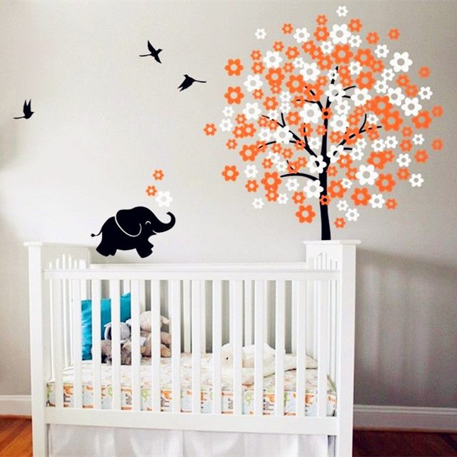White Tree With Flying Birds Wall Decal Vinyl Sticker Cute Elephant Wall  Art Decor   Baby Part 15