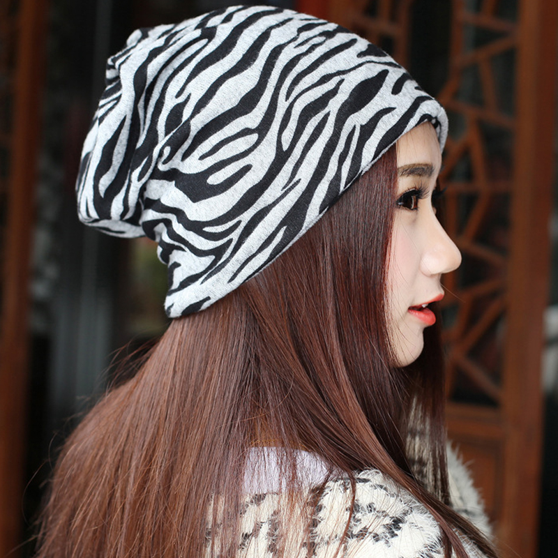 2017 New Arrival Women 2 Use Zebra Pattern Beanies Skull Hip-hop Hat Cotton Stripe Cap Winter Scarf Hat Beanies Unisex hats