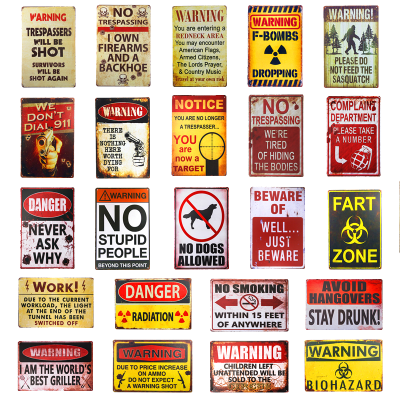 Warning Shot FART ZONE Vintage Tin Signs Art Poster Plate Garage Pub Rustic Wall Plaque Garage Bar Diner Home Wall Decor