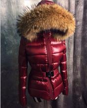 2016 New 90% white duck down Down Jacket Brand Women Slim Coat Down Jacket real raccoon Fur Collar Female Winter Outwear