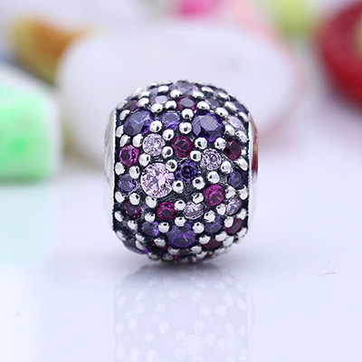 925 Sterling Silver Fit Original Pandora Bracelet Luxury Pave Purple Mix Color CZ Round Ball Charm Beads for Jewelry Making