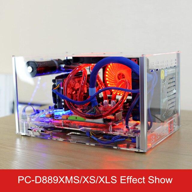 QDIY PC-D889XMS Horizontale MircoATX HTPC Acrylique Transparent Effacer le Bureau PC Eau De Refroidissement Boîtier de L'ordinateur