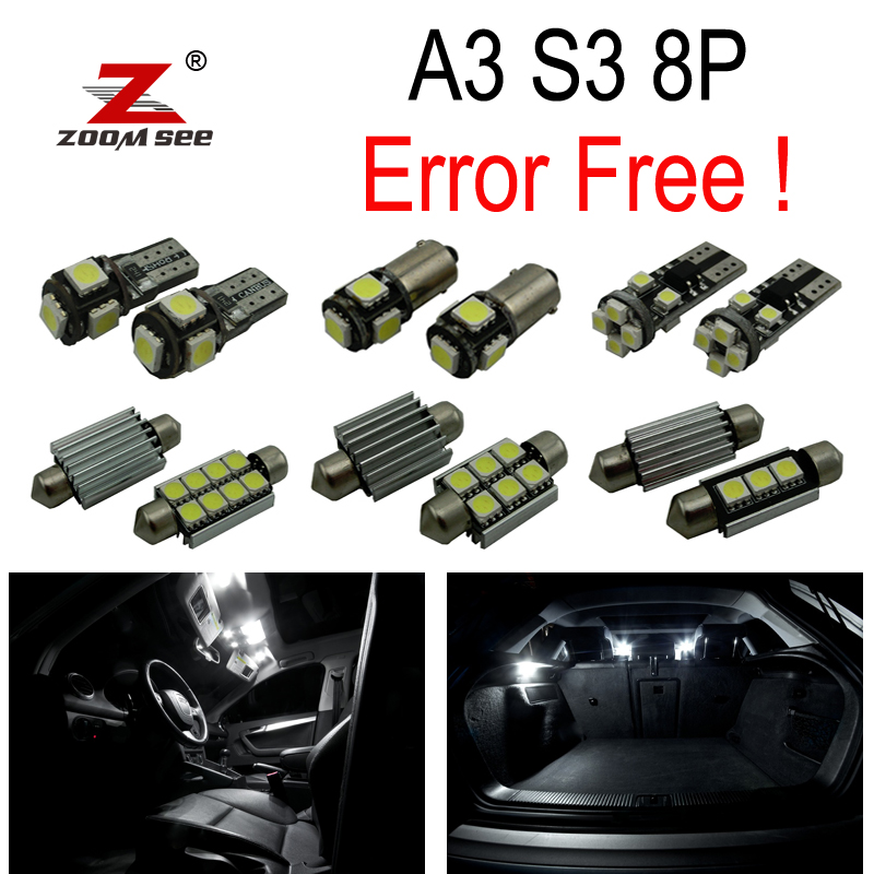 12pc X canbus LED Interior dome map Light Kit Package for Audi A3 S3 8P (2006-2013) car styling 13pcs excellent canbus led bulb interior dome map light kit package for volkswagen vw passat b6 2006 2010