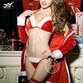 Hot Koop Top Kwaliteit Gratis Verzending Vrouwen Kerst Kostuums Baby Doll Sexy Fluwelen Jurk Drie Punten Porno Party Sexy Lingerie