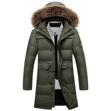 Men s fashion down Coat raccoon Nagymaros collar outwear parkas Windbreaker Men High Quality tactical Windproof