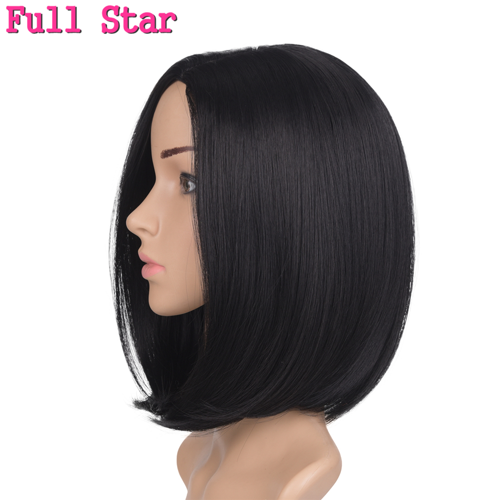 Full Star Black Straight Short Ombre Bob Wig 160g 12inch Synthetic Wigs For American Woman Burgundy/Brown/Silver Color