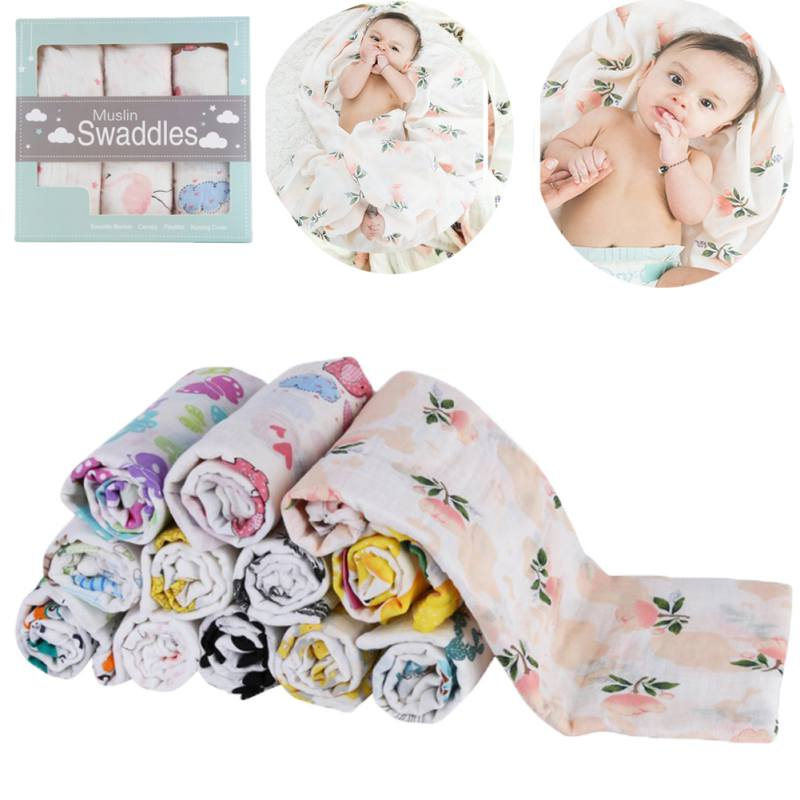 3PCS/Lot 120*120 Double Gauze Layer Baby Blanket Cotton Soft Hug Wrap Blanket Three Pieces Newborn Baby Bath Swaddle Towel