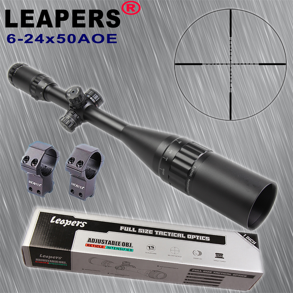 LEAPERS 6-24X50 AOL Hunting Rifle Scopes Sniper Scope Tactical Optics Scopes R/G/B Illuminated For Hunting Rifle Air Guns