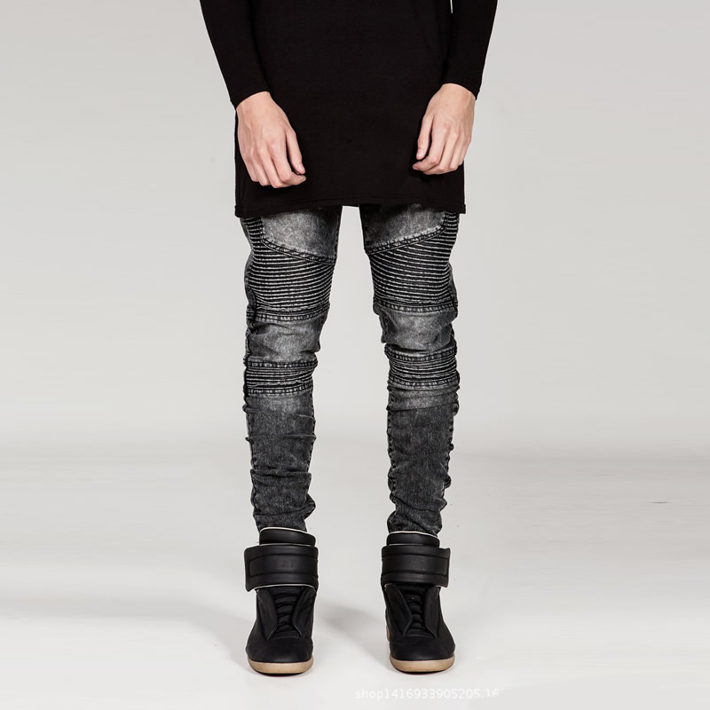 ФОТО jeans for men ripped biker adey jeans   balmai jeans men dolce gusto adey warm black blue pencil man pants