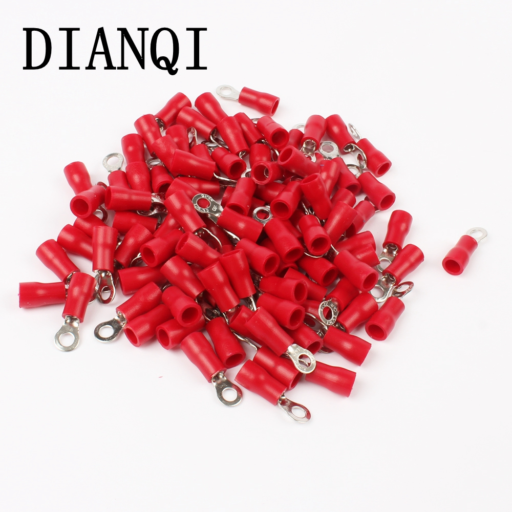 DIANQI RV1.25-3 Red Ring Insulated Wire Connector Electrical Crimp Terminal RV1.25-3 Cable Wire Connector 100PCS RV1-3 RV 15pcs a w g 14 6 copper cable lug tube wire crimp terminal ring connector 88a