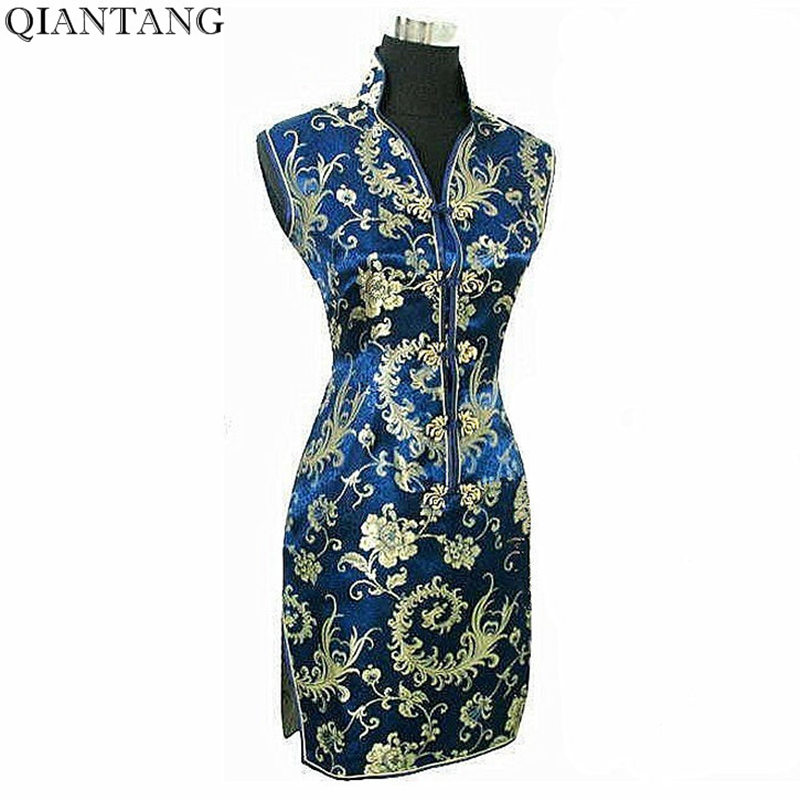 Elegant Navy Blue Ladies Satin Cheongsam Fashion Mini Qipao Novelty V-Neck Dress Flower S M L XL XXL XXXL Mujere Vestido JY012-5