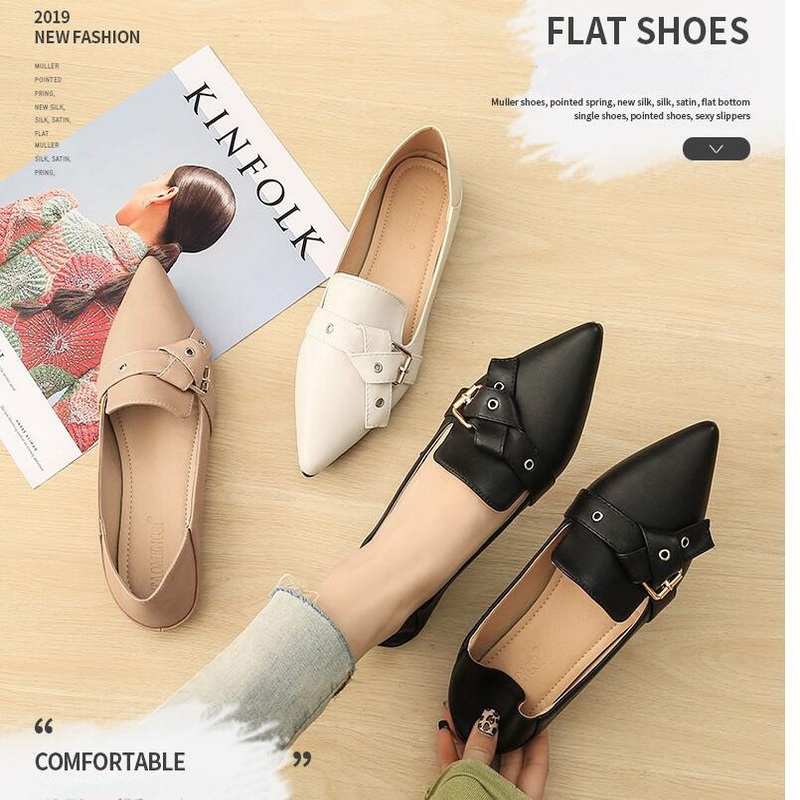 Women Flats 2019 Spring Summer Genuine Leather flat shoes large size white nurse shoes fashion Ballet Flat Shoes Women Loafers image