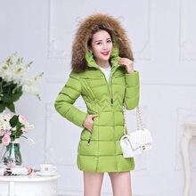 Invierno gruesa capa caliente mujeres de algodón coreano Nagymaros cuello encapuchado Parkas más tamaño color sólido chaqueta manteau Femme mz1032