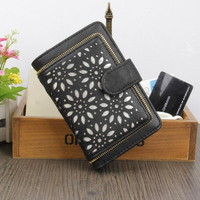 Lady Letter Snap Fastener Zipper Clutch Wallet Solid Vintage Hollow Out Women Wallet Fashion Small Female