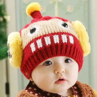 7colors Free shipping winter knitting wool  hats baby pocket beanie boy children earflap girl skullcap retail Lc13082905