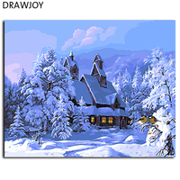 Diy Oil Painting By Numbers Decorative Canvas Painting Snow Landscape Wall Art Home Decoration For Living